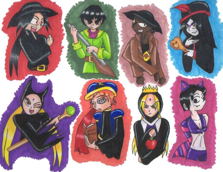 From left to right, starting from the top row:/  Itachi as Judge Doom from Who Framed Roger Rabbit?/ Lee as Clayton from Tarzan/  Kiddoumaru as Captain Barbossa from Pirates of the Caribbean/ Orochimaru as Jafar from Aladdin/ Tsunade as Maleficent from Sleeping Beauty/ Pein as Judge Claude Frollo from Hunchback of Notre Dame/  Tsunade as the Snow Queen from Snow White and the Seven Dwarves/  Sai as the Cheshire Cat from Alice in Wonderland
