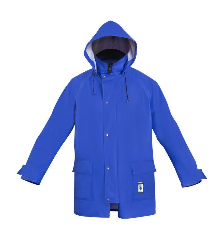 """VESTE À CAPUCHE IMPERMÉABLE """"PROS"""" Modèle: 103 La veste possède la fermeture à glissière sous rabat à boutons pression, une capuche fixe et 2 poches soudées sous pattes. Les bas de manches sont réglables par velcro. La veste possède la ventillation au dos. Le modèle est fabriqué en tissu imperméable appelé Plavitex, qui est recommandé à l'usage dans des conditions météorologiques défavorables. La veste protège contre le vent et contre la pluie."""