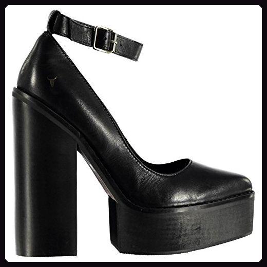 Windsor Smith Damen Pamm Plattform Leder Schuhe Plateau Absatz Fesselriemen Schwarz 7 (40) - Damen pumps (*Partner-Link)