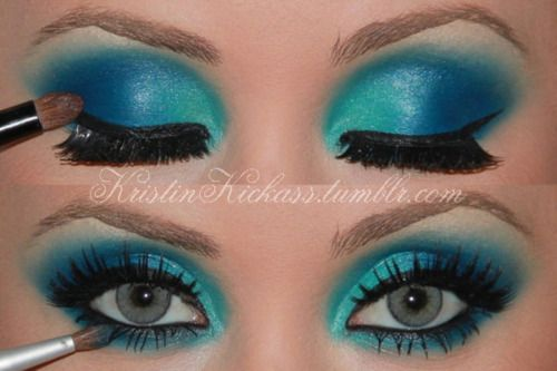 .: Halloween Eye, Performing Makeup, Eye Makeup, Theme Parties, Bright Color, Makeup Ideas, Dance Makeup, Electric Blue, Blue Eyeshadows