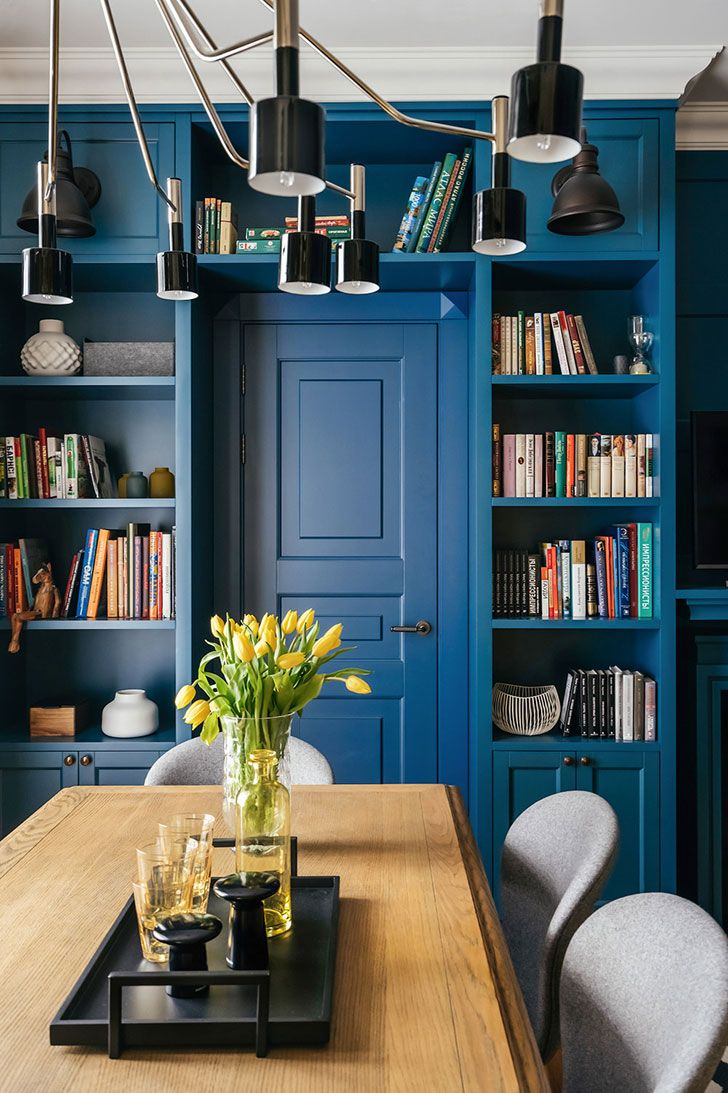 Blue library (see more) #color #blue #books #shelves #decor #design #table #door #tone #shade #paint #apartment
