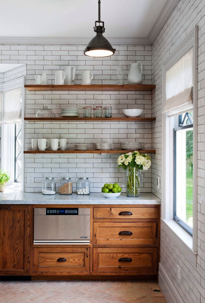 Natural Kitchen Cabinets and open shelves