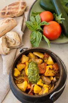 Vegetable Potjie with Basil Pesto