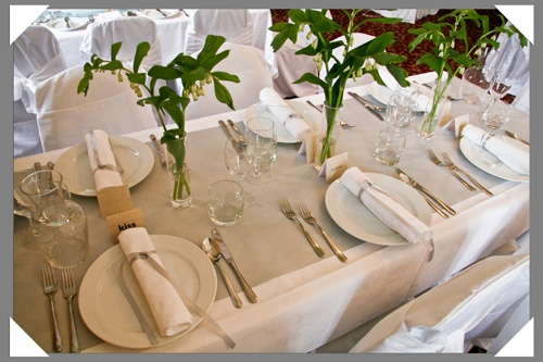 These table runners? With our own flowers