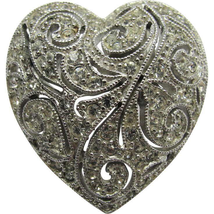 Boucher Sparkly Pave Rhinestone Heart Pin - Exclusively at Lee Caplan Vintage Collection  on RubyLane
