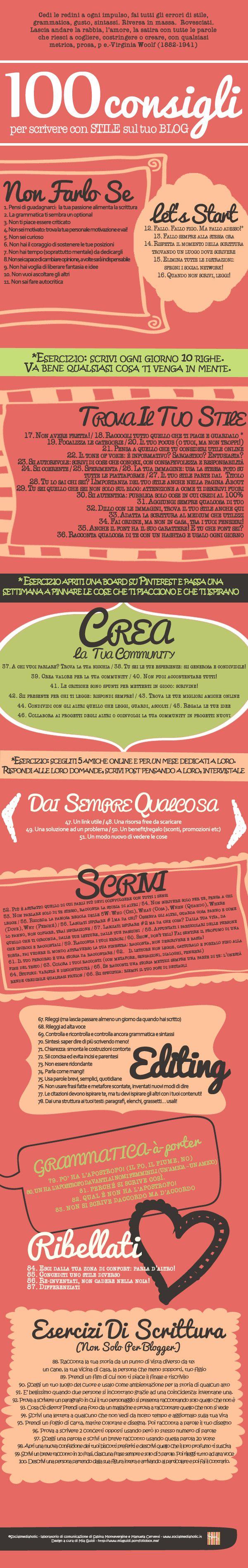 100-consigli-per-scrivere-con-stile-infografica-socialmediaholic  #scrittura #blogger #festadellarete