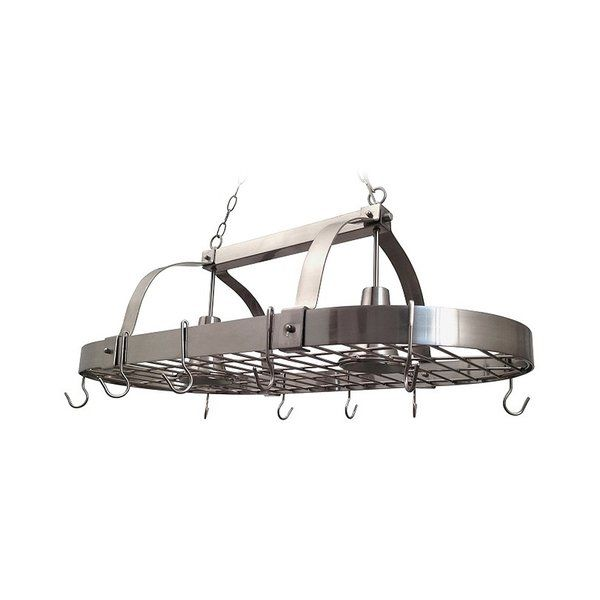 Update your kitchen in style with this industrial looking, two-light pot rack fixture featuring a brushed nickel finish. Make your pots and utensils easily accessible in a stylish way with this traditional design, as well as extra lighting for your every day tasks. Comes with 2 chains, 2 feet of cord (from top of fixture) and 10 hooks. Fixture requires two 60-Watt Type A standard medium base incandescent bulbs (not included).