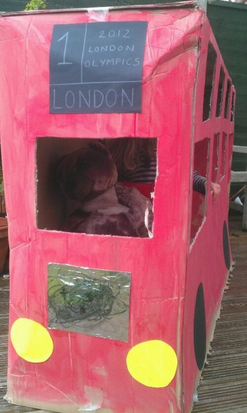 Cute cardboard-box London Double Decker bus from Entertaining Monsters! #Olympics #craft