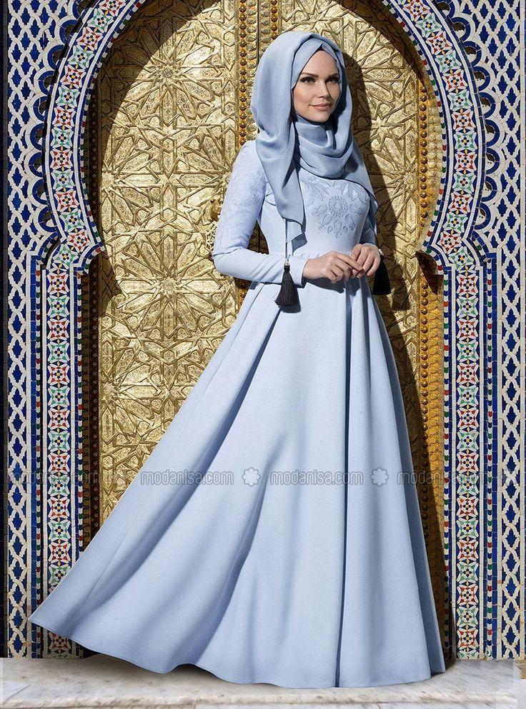 Embroidered Evening Dress - Blue - Muslima Wear
