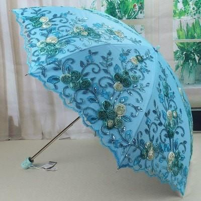 Beautiful Lace-Embroidered Floral UV-Resistant Folding Umbrella 4 Colors