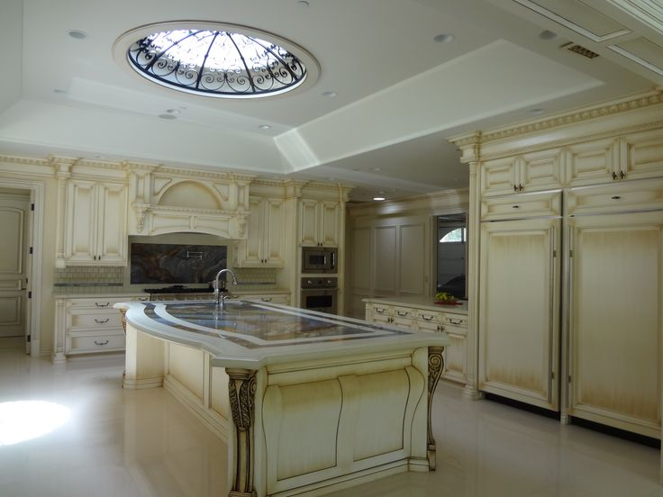 Cabinets Beverly Hills  Traditional kitchen cabinets, with an antique glaze paint finish, maple solid doors and drawer