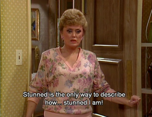 Blanche: Well, I am stunned. Just stunned. Stunned is the only way to describe how...stunned I am!     Dorothy: Just a minute, just a minute, Blanche. Are you trying to tell us that you are stunned?    tumblr_lolqgdKgJj1qafrh6.png 500×384 pixels