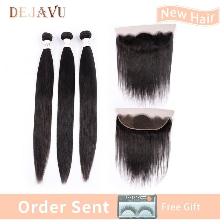 Dejavu 13×4 Frontal With 3 Bundles Peruvian Straight 100% Human Hair Bundles With Closure Non Remy Hair Ear to ear Lace Frontal