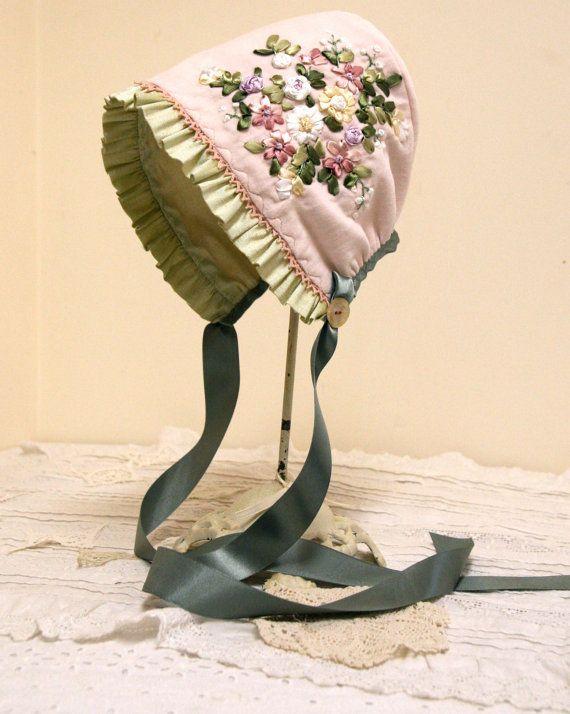 Elegant Pink Velveteen and Silk baby bonnet,, vintage baby, photo prop, hat