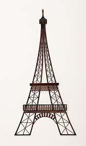 "39"" Large Metal Eiffel Tower Sculpture Wall Art Paris France Decor"