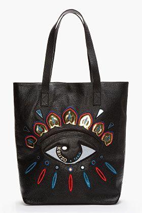 Kenzo Black Leather Metallic Embroidered Eye Tote for women | SSENSE