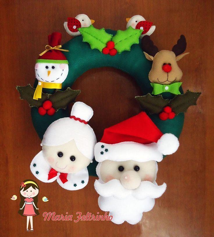 Resultado de imagen para felt corona navide a navidad - Coronas navidenas de fieltro ...