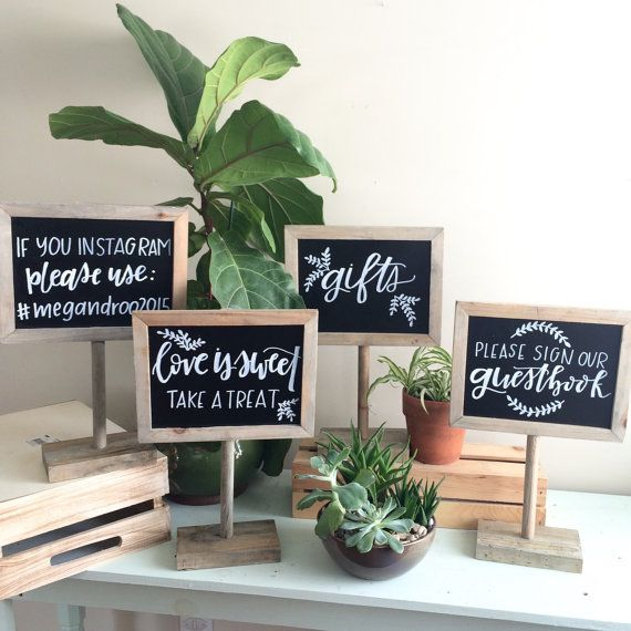 These wooden chalkboard stands are perfect for your next event! These are great as a gift table sign, guestbook sign, bar sign, dessert table sign, Instagram sign, reserved sign, photo booth sign, etc! These signs can be customized how youd like with beautiful calligraphy, using a chalk paint pen, which will not smudge. Simply indicate what you would like written on the sign in the Notes to Seller box during checkout. Dimensions: Chalkboard: 9L x 6H Overall: 11L x 8.5H Base: 6.25L x 4W x 1H…