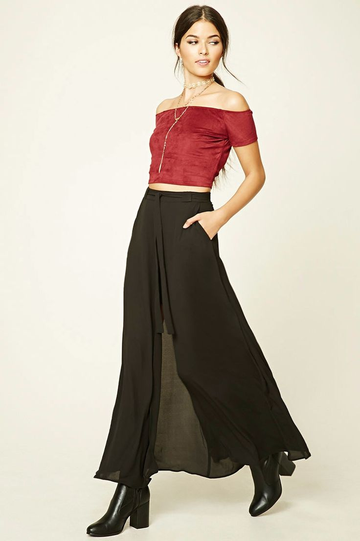 Forever 21 Contemporary - This contemporary woven maxi skirt features a front high-slit that is layered over a mini skirt, self-tying sash waist, and a concealed back zipper.