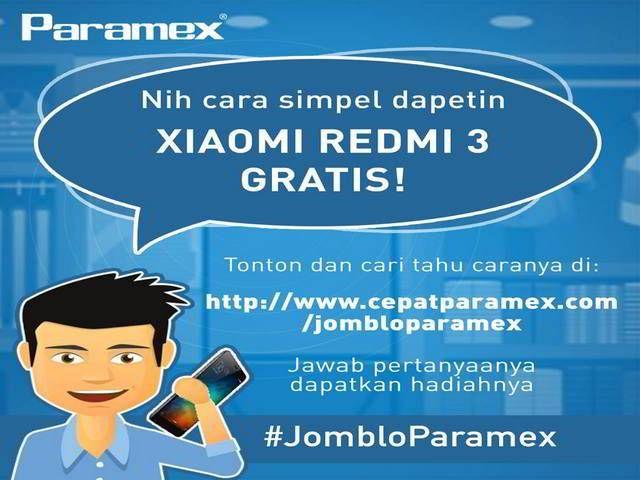 Kuis Jomblo Paramex Berhadiah Smartphone Xiaomi Redmi 3 - Hai sobat MisterKuis! Mau mendapatkan hadiah handphone keren biar tambah beken? Pihak Paramex