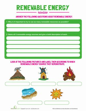 Third Grade Physical Science Worksheets: Renewable Energy