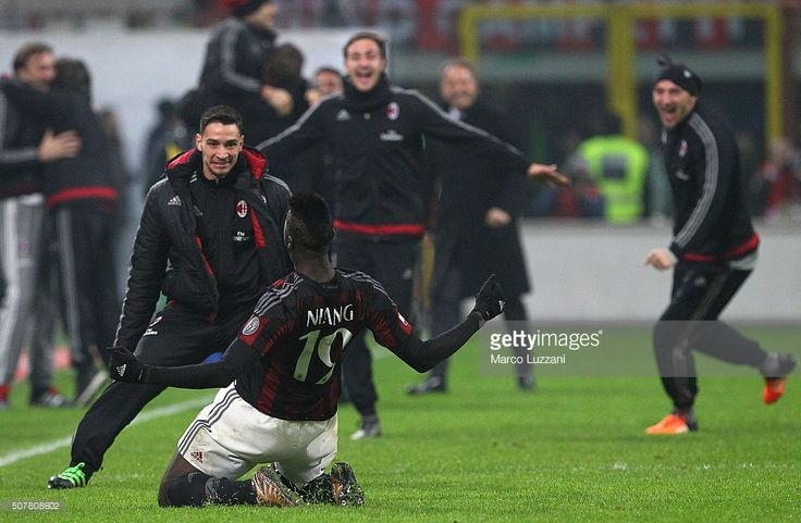 M Baye Niang #19 of AC Milan celebrates his goal with his team-mate Mattia De Sciglio (L) during the Serie A match between AC Milan and FC Internazionale Milano at Stadio Giuseppe Meazza on January 31, 2016 in Milan, Italy.