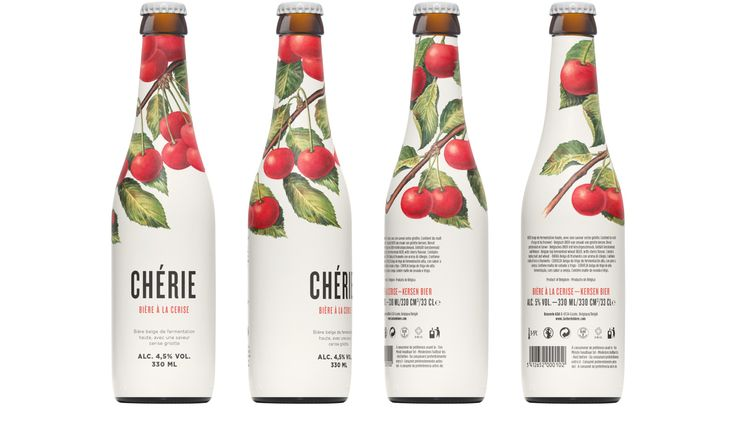 Packaging design for Chérie, a new Belgian top fermented cherry-flavoured wheat beer.
