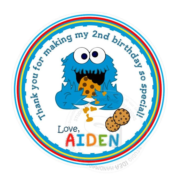 "Custom Baby Cookie Monster Stickers-Sesame street Party Thank you Birthday Stickers 2.5"" round Stickers"