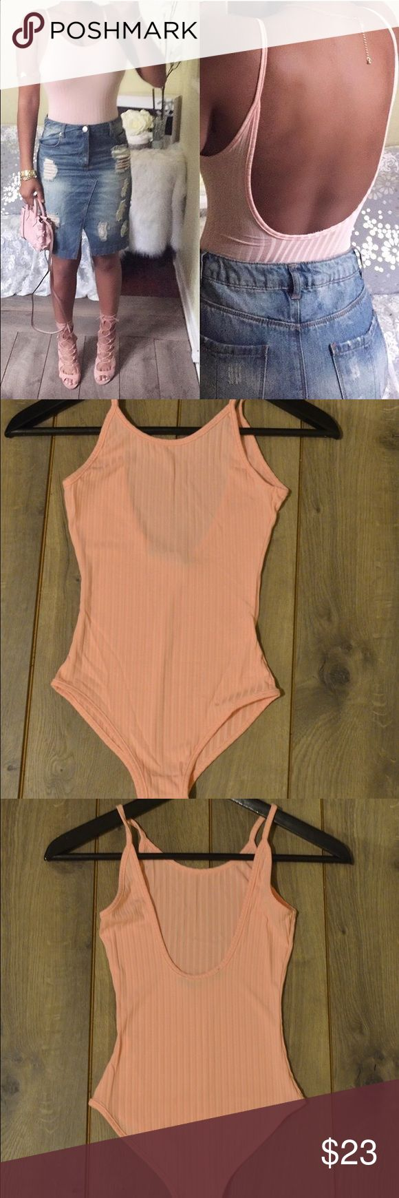 Light Pink Bodysuit with scooped back NWT Super cute bodysuit with scooped back. Great with high waist bottoms. Ready to ship and ships out next day after successful payment Fast Shipping   Great Closet   Always willing to bundle   New Items Often Tops Tank Tops