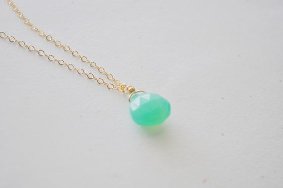 Gum Drop Necklace  mint green chalcedony stone by adenandclaire