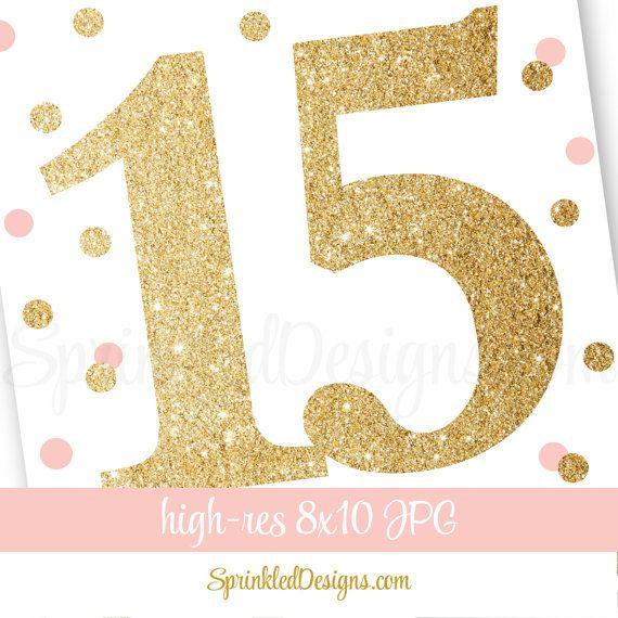 15th Birthday Party Fifteenth Birthday Number by SprinkledDesign