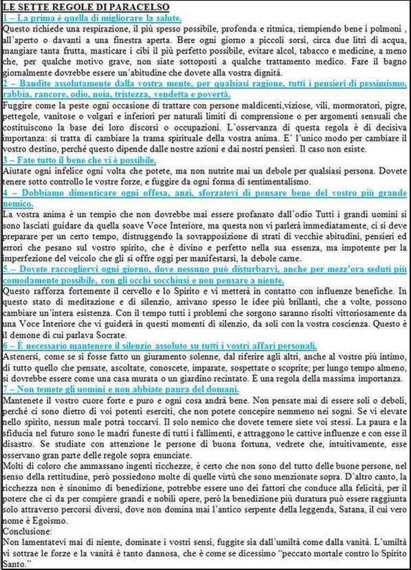 Le sette regole del paracelso