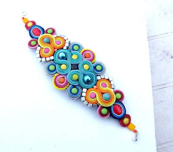 Soutache Bracelet Colorful Bracelet Cuff by StudioGianna on Etsy