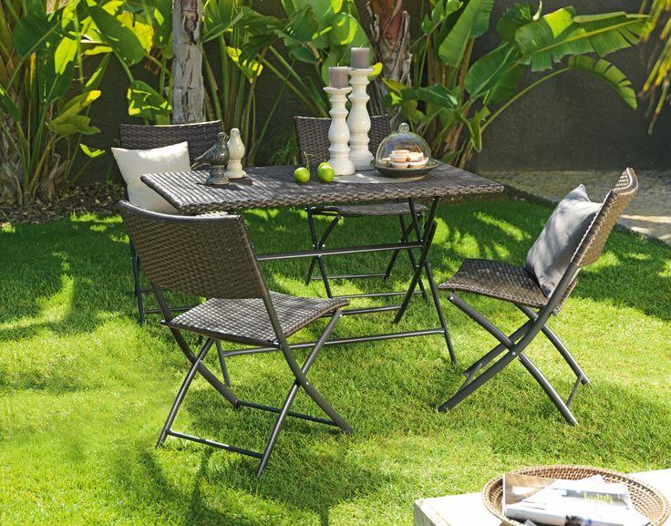 Gartenmöbel in Rattan-Optik - 3-teiliges Set mit Tisch und Stühlen