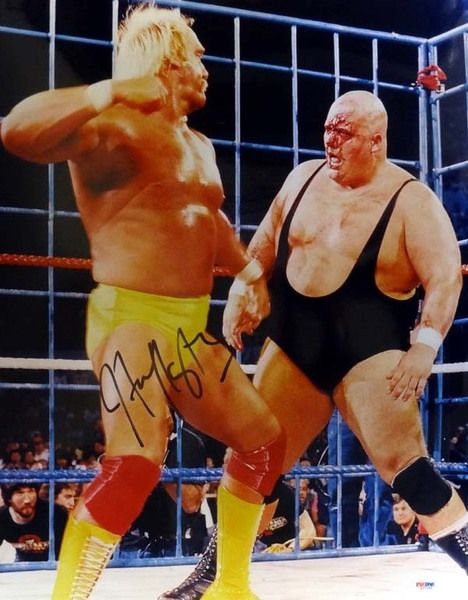 Hulk Hogan Autographed 16x20 Photo WWE w/ King Kong Bundy PSA/DNA
