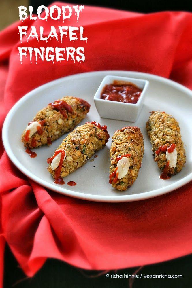 Vegan Falafel Fingers. Perfect halloween snack. Easy Witch fingers! VeganRicha.com #Glutenfree #Soyfree #Sugarfree #vegan #Recipe
