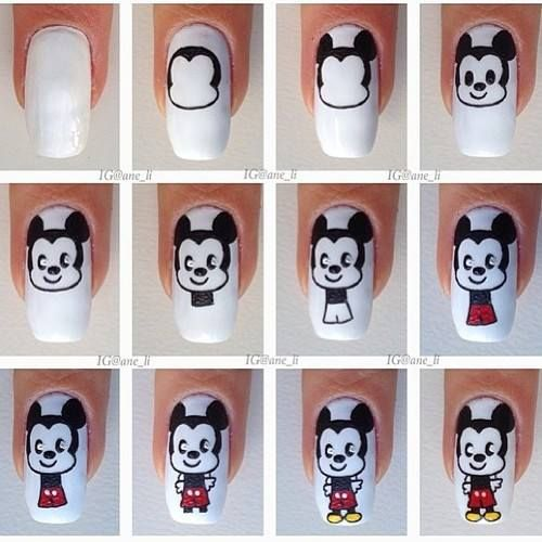 Micky nail art. So cute, but a little too advanced for me....
