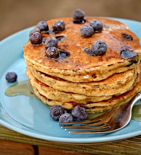 Whole Wheat Blue Berry Pancakes. Healthy and Delicious!