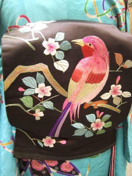 ☆繻子地鳥と桜刺繍の名古屋帯 アンティーク着物 大正ロマン_画像1