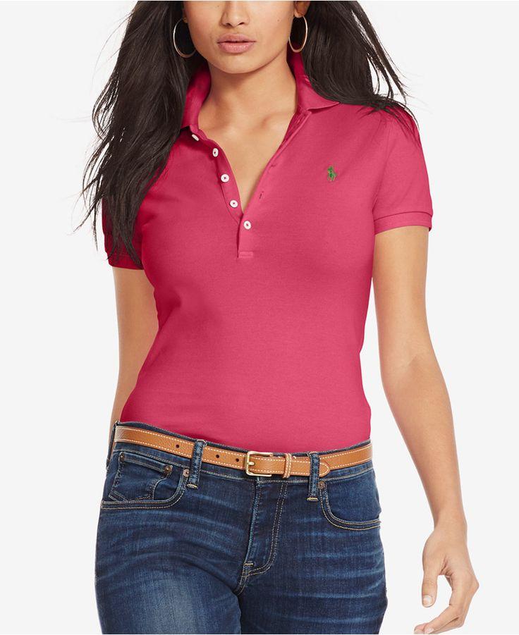 Polo Ralph Lauren Skinny-Fit Stretch Polo Shirt - Tops - Women - Macy\u0027s