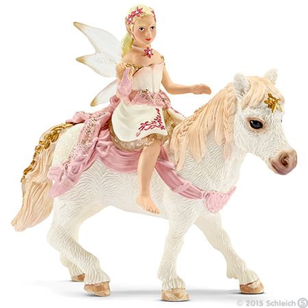 Schleich, Delicate lily elf, riding a pony