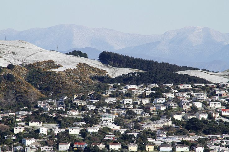 Snow on Titahi Bay (with South Island behind)   © Elyse Childs Photography