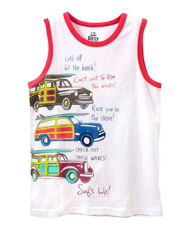 Another great find on #zulily! White 'Surf's Up' Woodie Tank - Boys #zulilyfinds