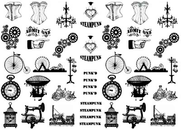 Beautifully intricate Steampunk designs in black silk screen enamel decals. Open…