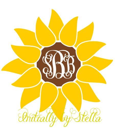 sunflower monogrammed decal  sticker for yeti cup - car decal