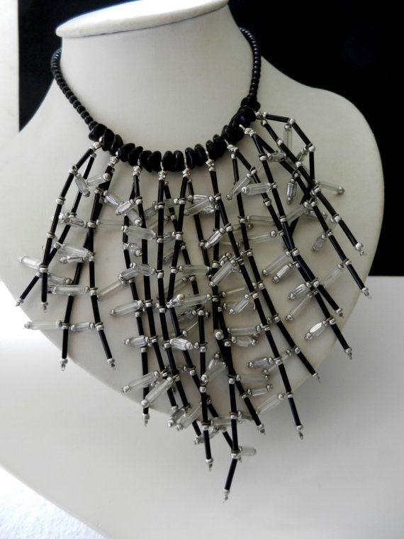 1970 cascade crystal bib Necklace  Czech crystal by RAKcreations