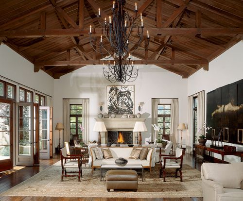 Ceilings Beams, Make A Room, Living Room, High Ceilings, Wood Ceilings, Dreams Room, Vaulted Ceilings, Families Room, Architecture Digest