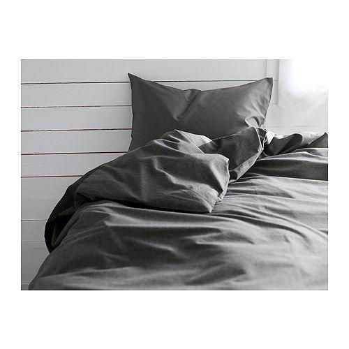 GÄSPA Funda nórd y 2 fundas almohada IKEA  La ropa de cama de satén de algodón es muy suave y agradable, y tiene un brillo que le da un aspecto muy bonito.