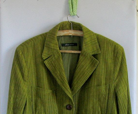 1970s Corduroy Jacket  Green Jacket  Corduroy Fitted by vintachi, $28.00
