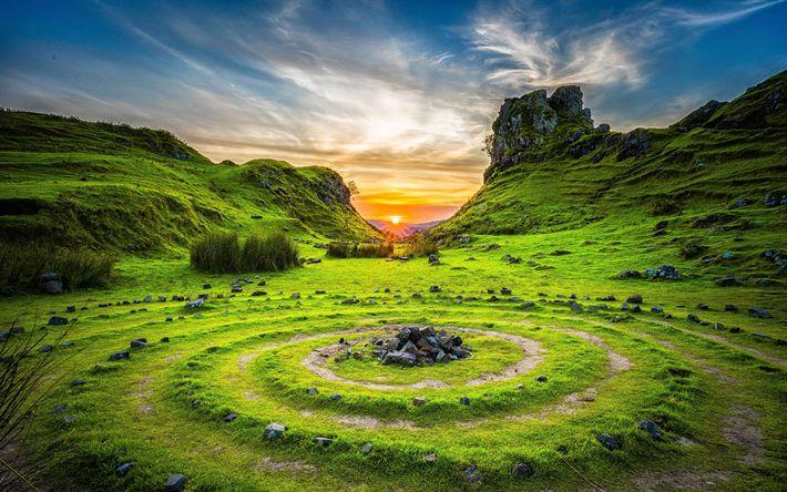 Lataa kuva UK, 4k, hills, sunset, Skye, Skotlanti, Yhdistynyt Kuningaskunta